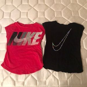 Lot of 2 Girl 4T Nike Shirts Pink Black Sporty